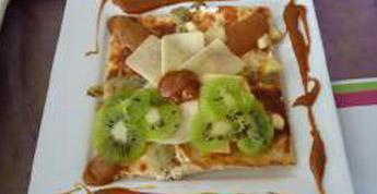 Panna Cotta de brebis à la poire, kiwi et pommes au caramiel